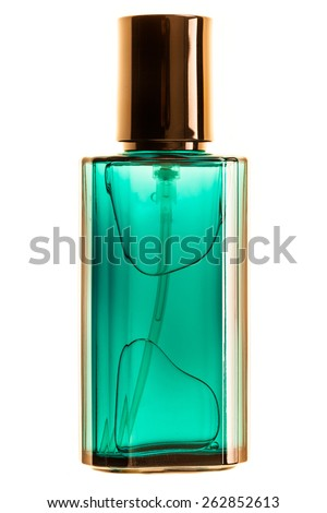 a luxurious perfume bottle isolated over a white background - stock photo
