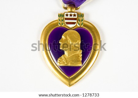 A macro image of a Purple Heart 10 (memorial day series) - stock photo
