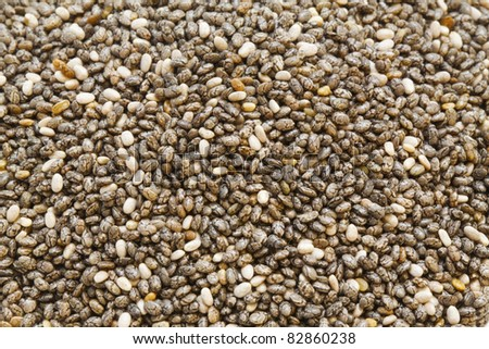 A macro shot of a heap of chia seed - stock photo