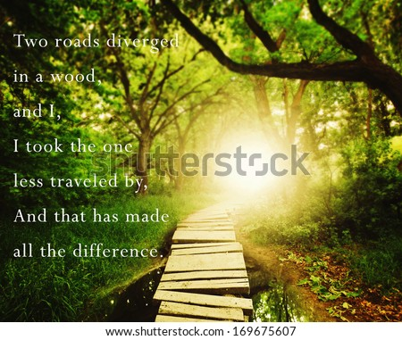 a magical bridge in a green lush forest with a inspirational quote - stock photo