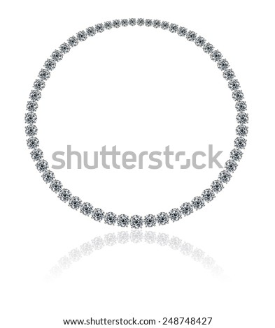 A magnificent high jewellery round diamonds necklace on a white background with reflection - stock photo