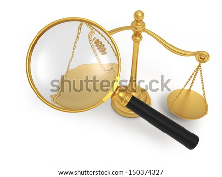 A magnifying glass/ a scale/3d/justice - stock photo