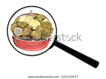 A magnifying glass against white background increases Euro-coins. - stock photo