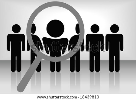 A magnifying glass finds, selects or inspects a person in a line of people: search & choose for employment, recognition, promotion, hire, etc. The people are on a clipping path. - stock photo