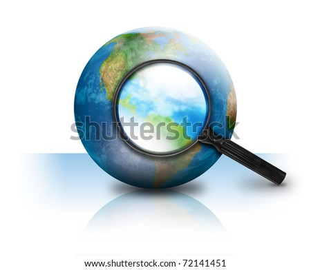 A magnifying glass is searching the earth and there on a white isolated background. Use it for an internet or travel concept. - stock photo