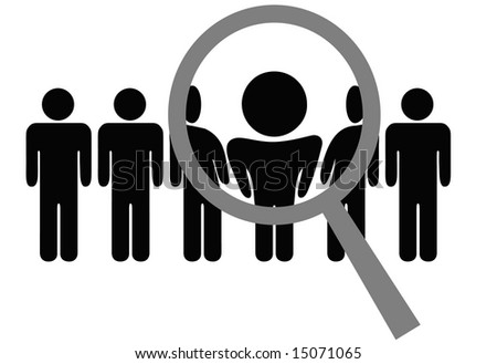 A magnifying glass selects or inspects a person in a line of people: choose for employment, recognition, promotion, hire, etc. Clipping path included. - stock photo
