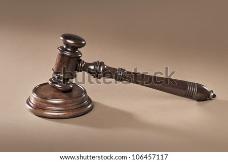 A Mahogany wooden gavel with sound block. - stock photo