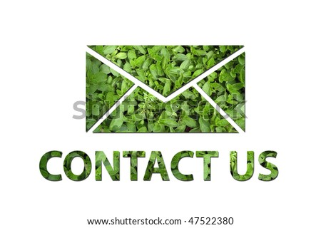 A mail symbol with the text contact us made out of green leaves to be used by a company to symbolize ecology or enrivonmental concerns. - stock photo