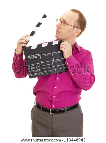 A male business person with a clapperboard - stock photo