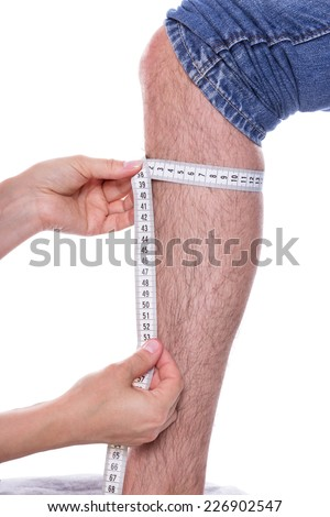 A male calf is measured with a tape measure - stock photo