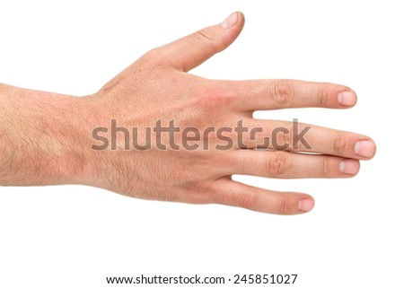 a male hand on a white background - stock photo