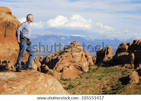 ... portion of the Arches National Park, Utah, USA. - stock photo