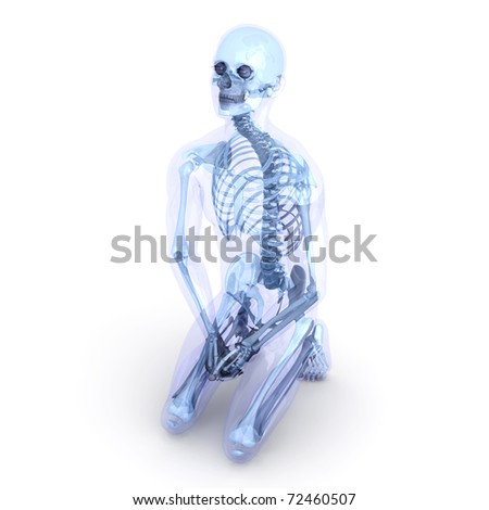A male, human, translucent Body. Anatomy visualization. 3D rendered Illustration. Isolated on white. - stock photo