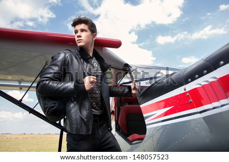 a man and a plane - stock photo