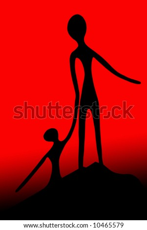 A man and a woman silhouette with an orange background - stock photo