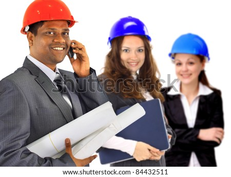 A man and woman architect team on construction site - stock photo