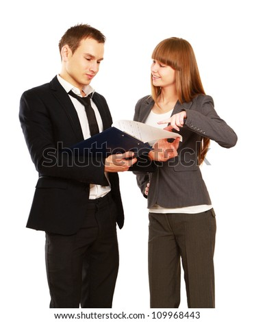 A man and woman business team at their company office isolated on white background - stock photo