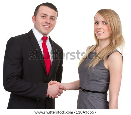A man and woman shaking hands, isolated on white - stock photo