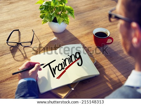 A Man Brainstorming about Training - stock photo