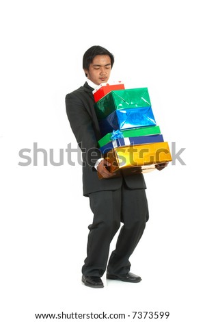 a man carrying some gift boxes over a white background - stock photo