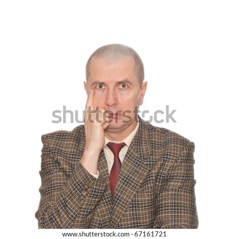 A man critically evaluating isolated on white. - stock photo