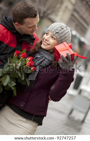 A man dating with his girlfriend. Katowice, Poland, Europe - stock photo