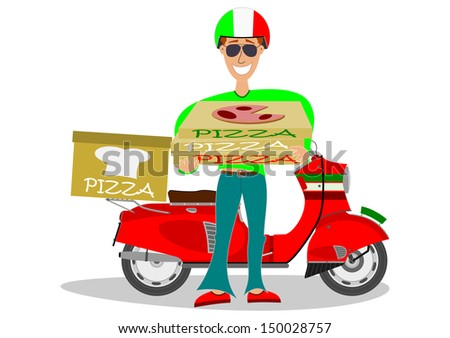 A man delivering pizzas and scooter on a white background. - stock photo