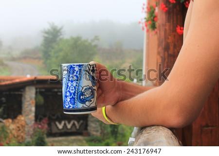 A man drinking tea - stock photo