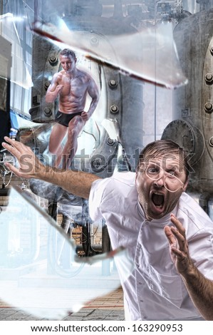 A man escapes from the lab - stock photo