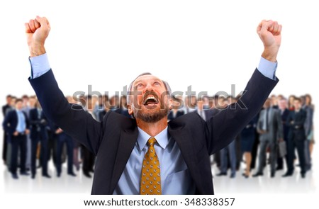 a man glad in the background of his team - stock photo