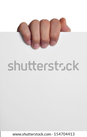 a man hand holding a blank signboard with a copy-space - stock photo