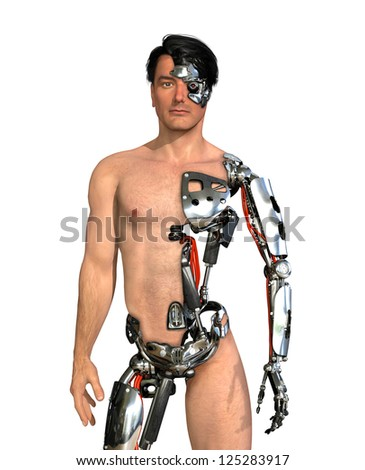 A man has had large areas of his body replaced with robotic parts - 3D render with digital painting. - stock photo