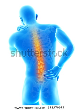 a man having acute pain in the back - stock photo