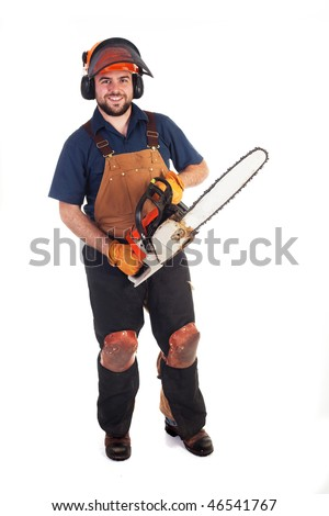 a man holding a chainsaw isolated on a white background - stock photo