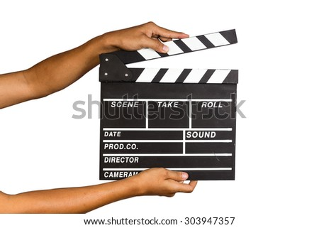 a man holding a clapper board or film slate with isolate background - stock photo