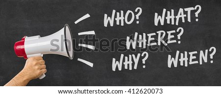 A man holding a megaphone - Questions - stock photo