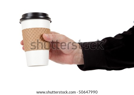 A man holding a paper coffee cup on a white background - stock photo