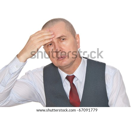 A man holding hands on his head because of migraine. Isolated on white. - stock photo