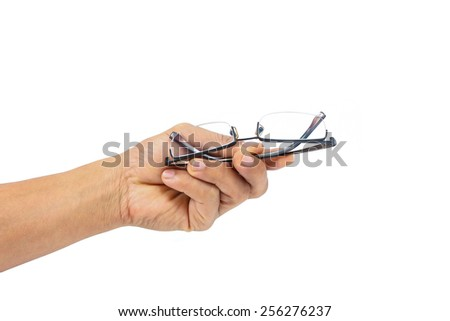 A man holds Glasses. On a white background. close-up - stock photo