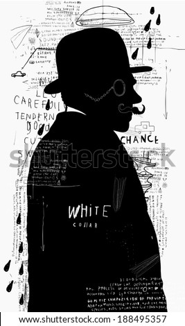 A man in a hat and pince-nez that stands alone  - stock photo