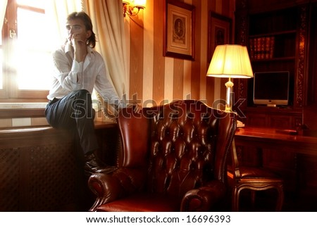 a man in a studio - stock photo