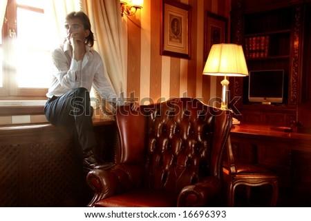 a man in a studio - stock photo