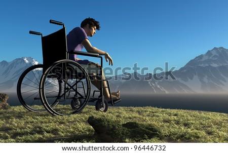 A man in a wheelchair outdoors. - stock photo