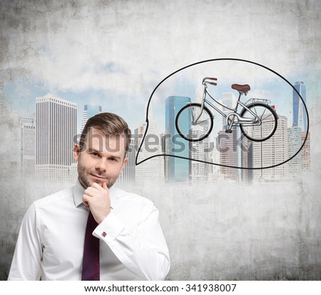 A man in formal shirt is dreaming about buying of a new car. New York sketch is drawn on the concrete background. - stock photo