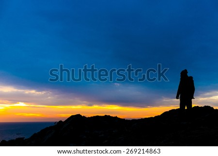 A man in the coast of Cadaques, Catalonia, Spain - stock photo