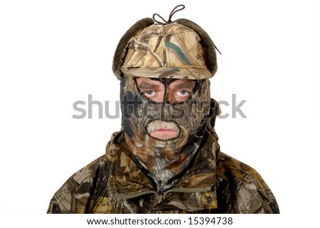 A man in the  hunting camouflage - stock photo