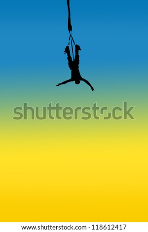 A man is bungee jumping - stock photo