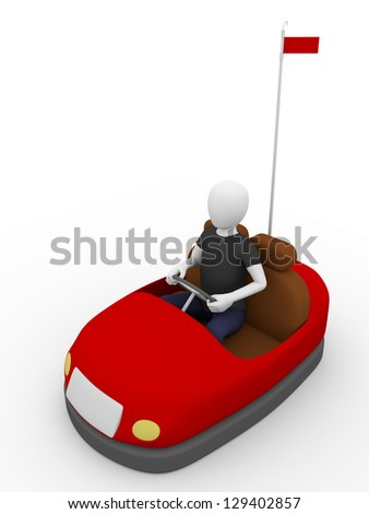 A man is driving a bump car. Entertainment concept - stock photo