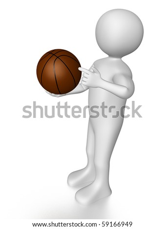 A man is holding and pointing a basket ball - stock photo
