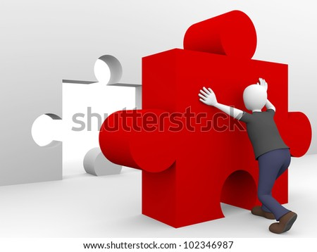 A man is pushing a puzzle piece with his arms. Concept of effort and hard work - stock photo